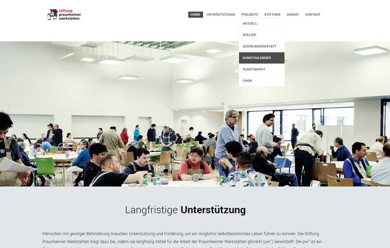 Screenshot Webseite Stiftung Praunheimer Werkstätten