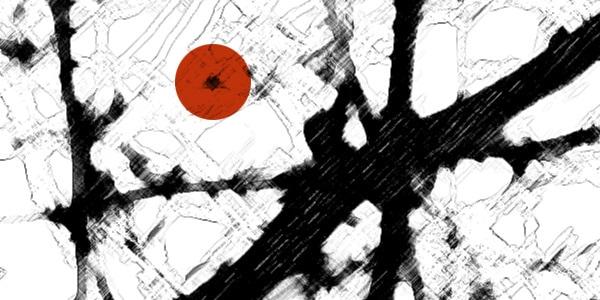 Beratung Strukturen schwarz weiß mit rotem Punkt