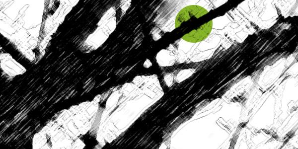Beratung Strukturen schwarz weiß mit grünem Punkt